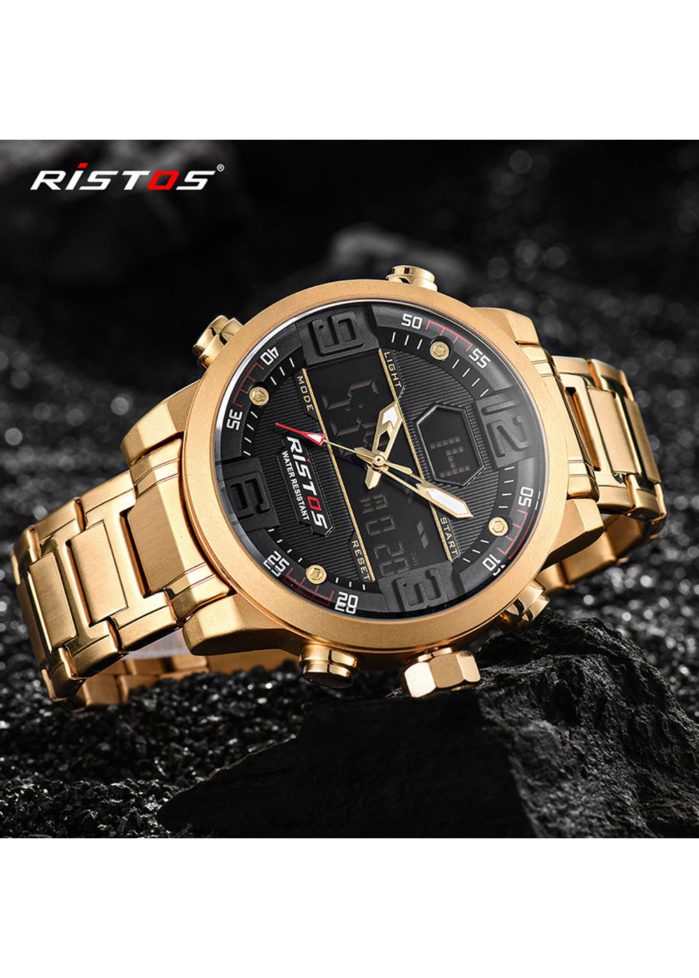 Ristos 9338 Gold Analog Digital Chronograph Watch For Men