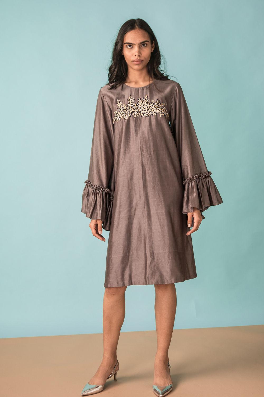 620823baf7 A-line Dress With Frill Sleeve | Kan-ap-18s26