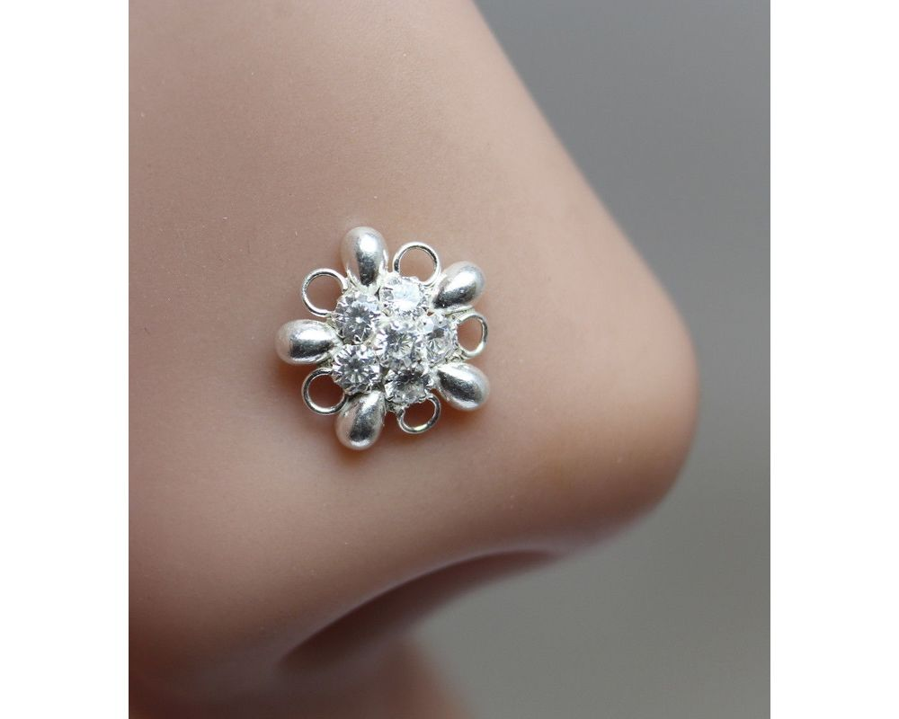 Karizma Jewels Ethnic Indian 925 Sterling Silver White CZ Indian Nose Ring Push Pin