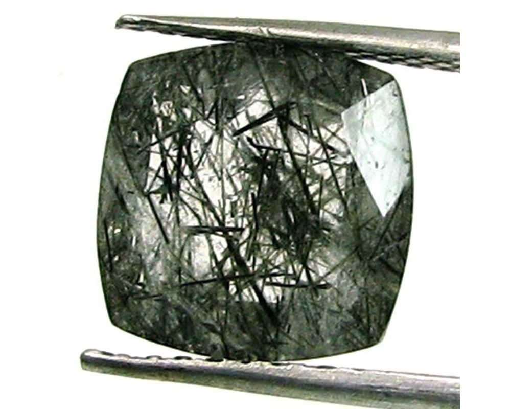 Black Rutilated Quartz Cut Stones-Rutilated Quartz Stone-Natural Black Rutilated Quartz Faceted Cut Rectangle Gemstone-14x10 MM-3 Pcs-BS9481