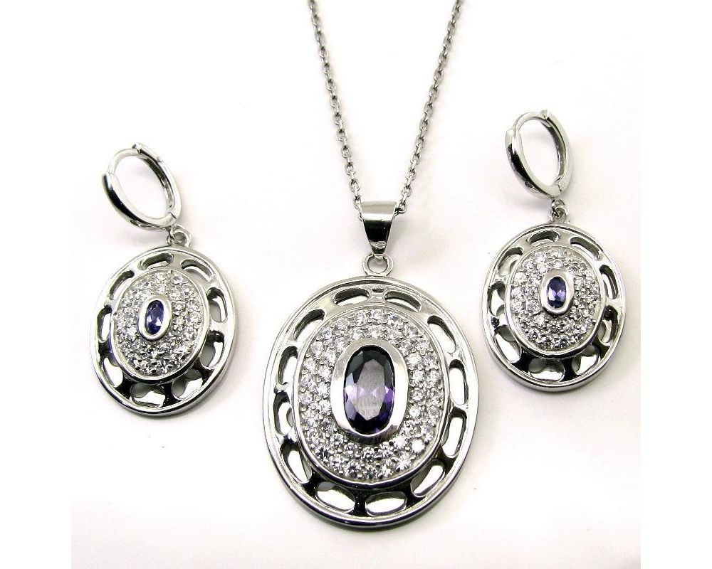 Beautiful Earrings with Pendant W//Zircon no chain 925 Sterling silver