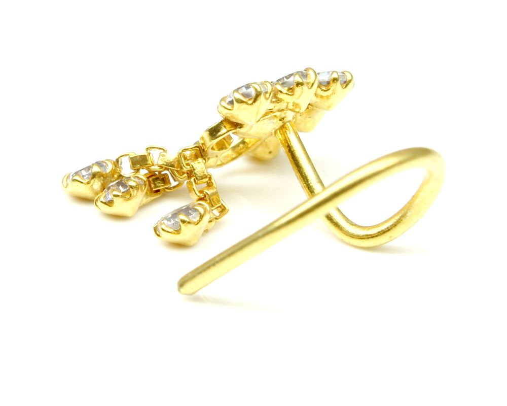 White CZ corkscrew  piercing nose ring Details about  /22K Gold filled Indian Nose Stud