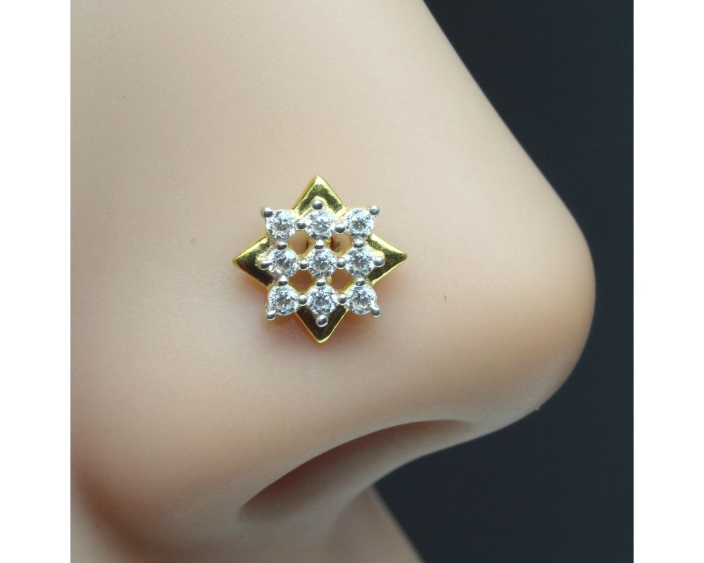 Real Gold dangle Nose stud  White CZ 14K Indian piercing nose ring Push pin