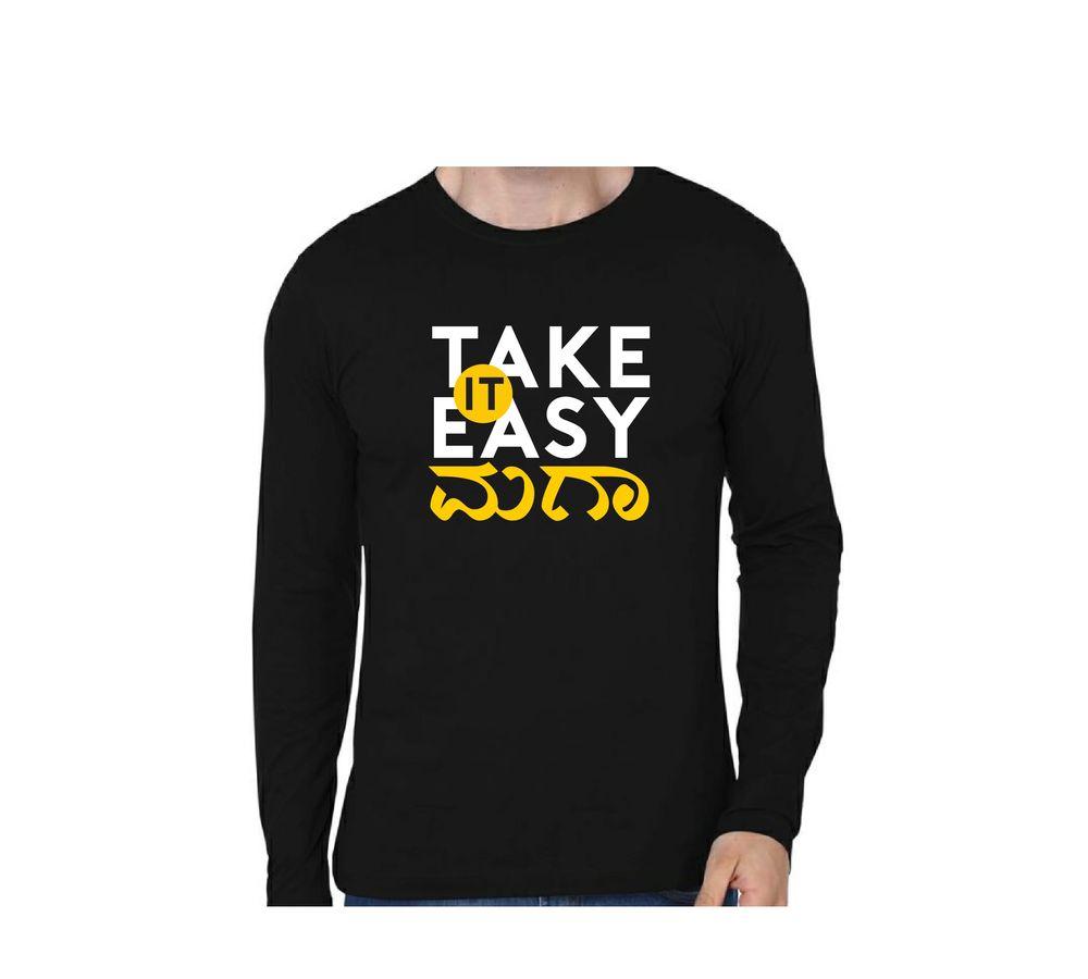 Take It Easy Maga Black Color Full Sleeve T-Shirt a8557f7f7