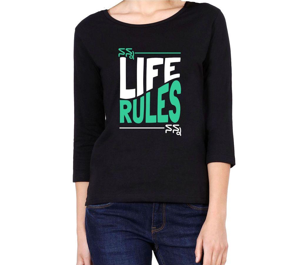 4e74d160a36c Nanna Life Women's Black Color 3/4 Sleeve T-shirt