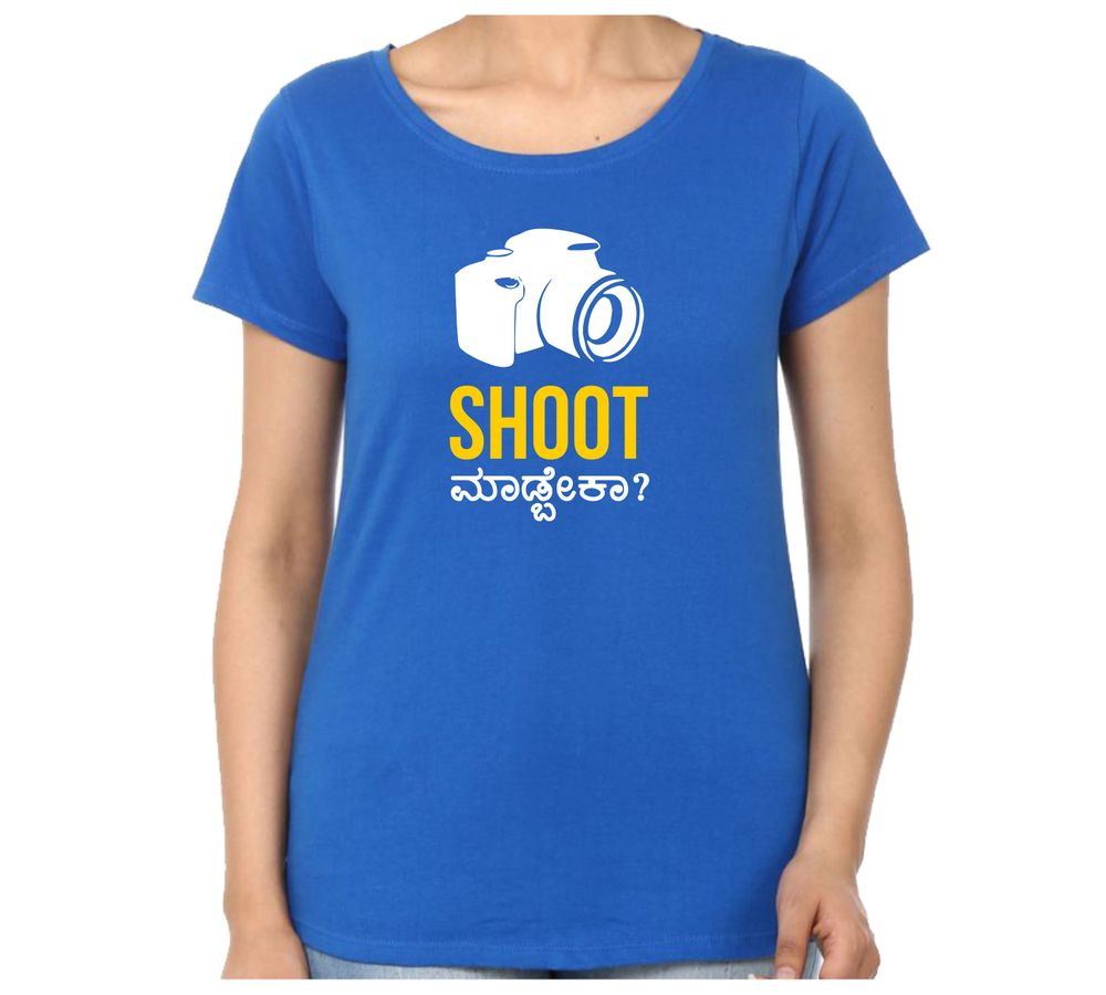 13adc0ee407d Shoot Madbeka Women's Royal Blue Color Round Neck T-Shirt
