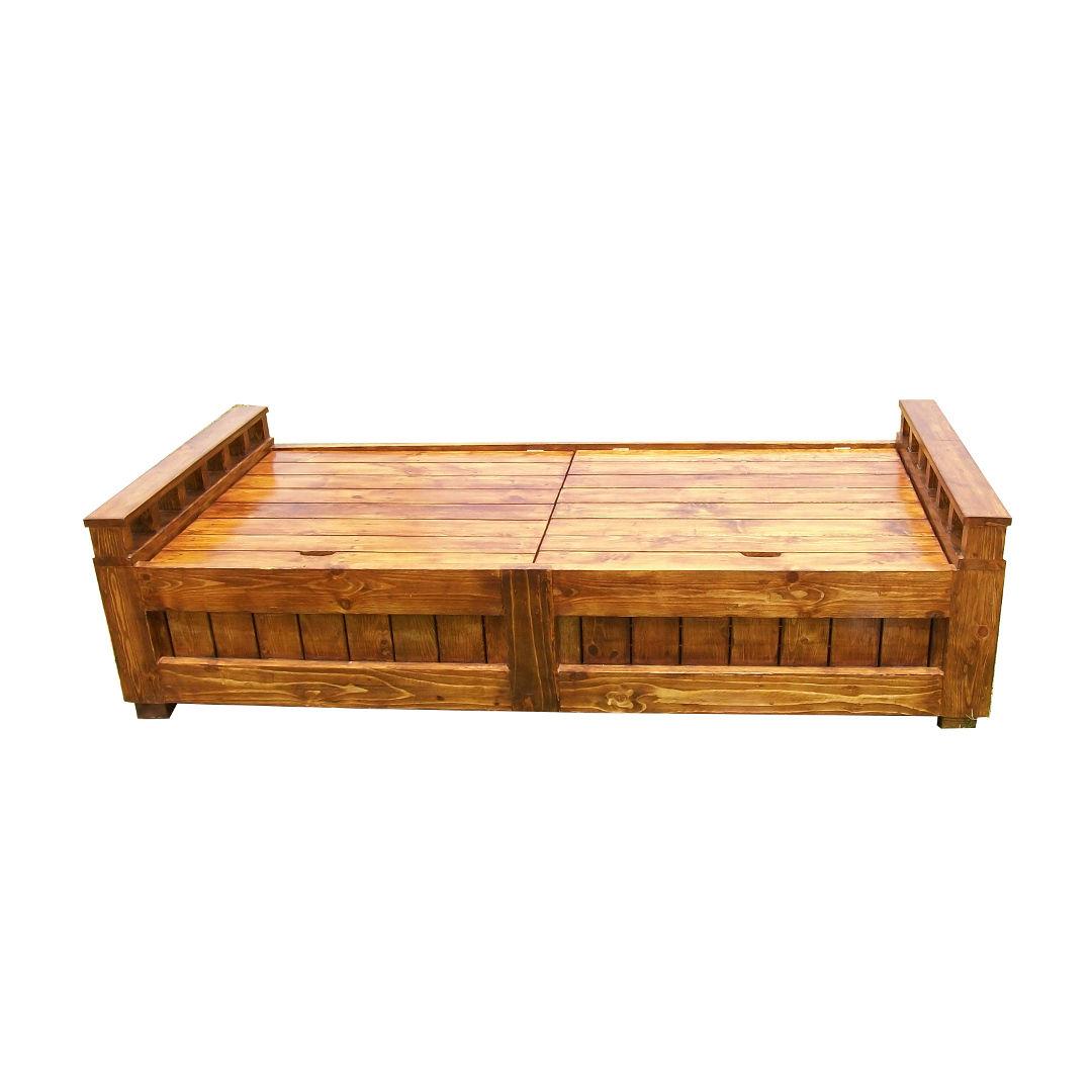 plain wooden diwan with storage desk