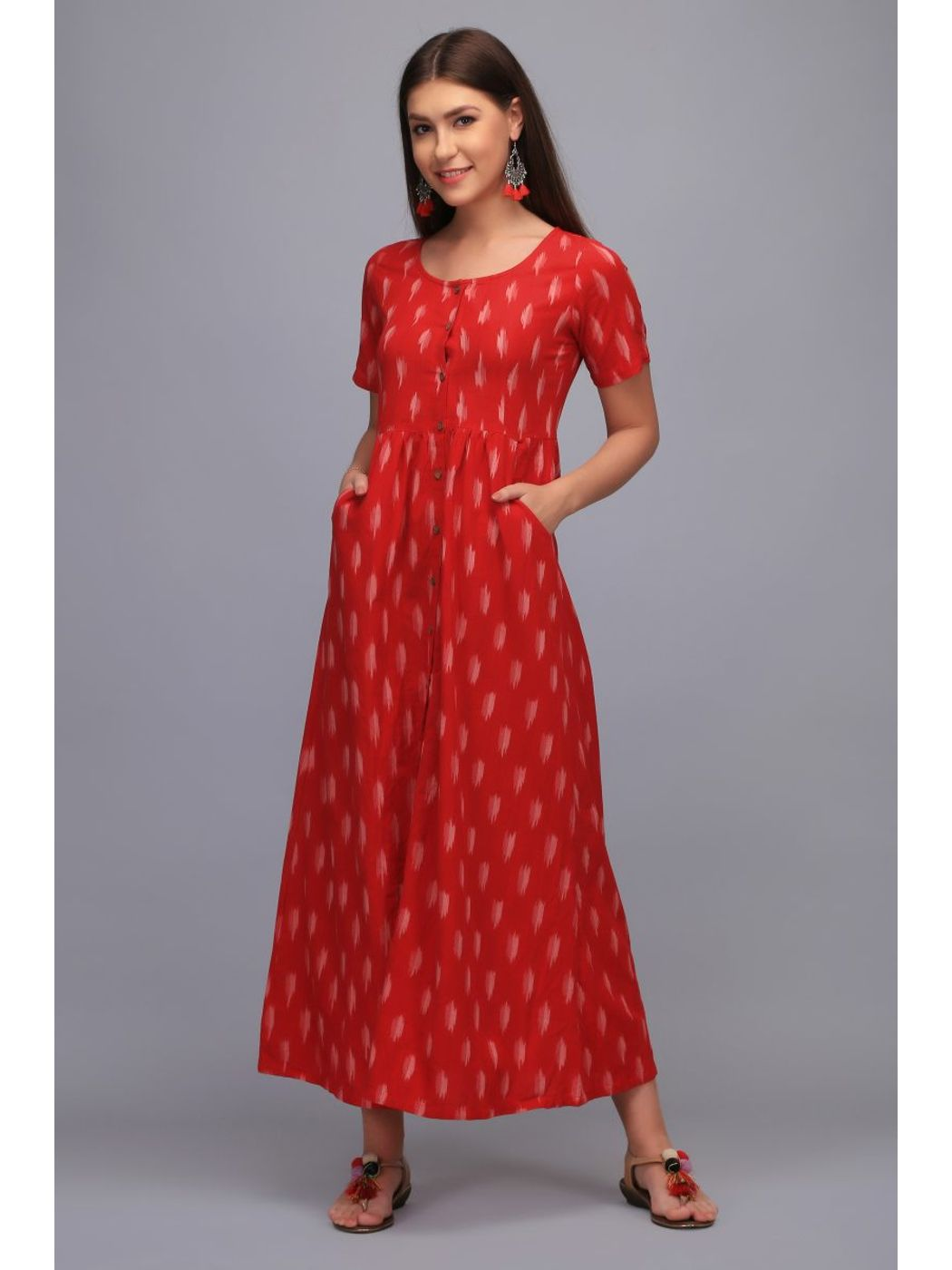 f6e9a6b8b6c Bohemian Dream Red Ikat Maxi Dress with pockets