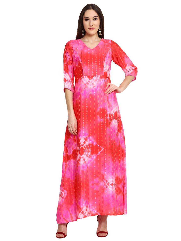 Aujjessa Fuschia Red Printed Maxi Dress | Bbmdauugl1520