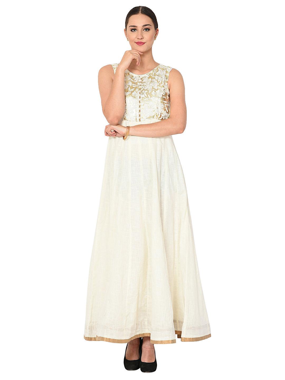 Aujjessa White Gold Kalidar Maxi Dress