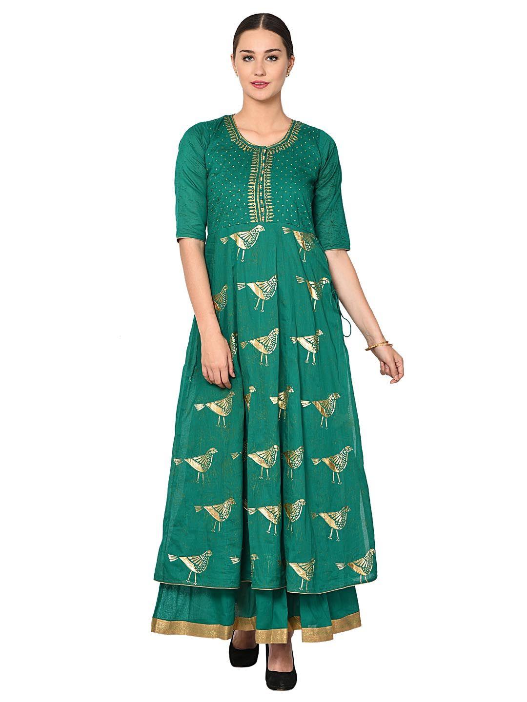 Aujjessa Dark Green Foil Print Ethnic Gown