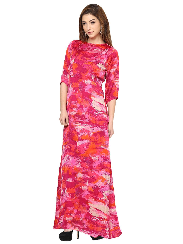 Aujjessa Fuschia Printed Maxi Dress | Bbmdauugl1534