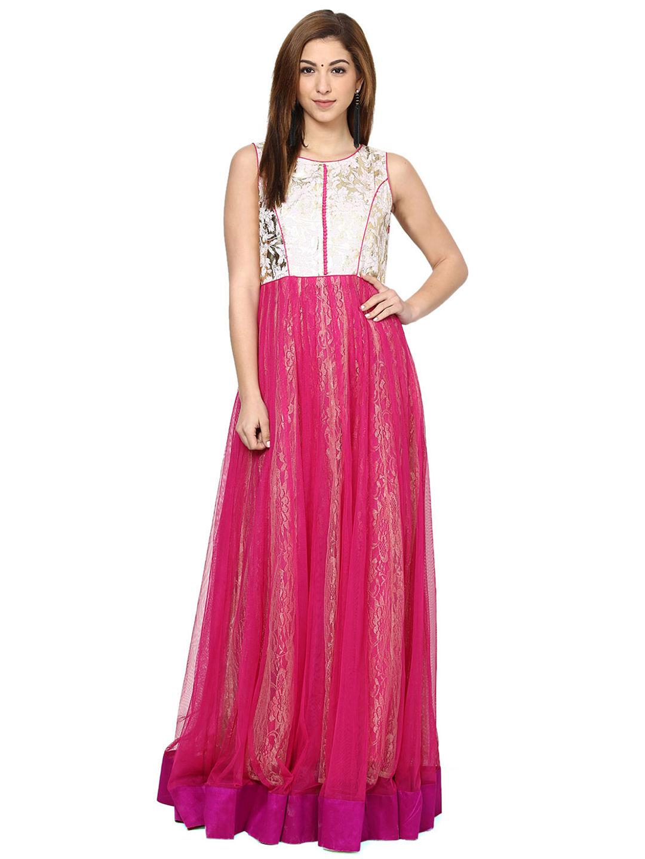Aujjessa Fuschia Net Gown | Bbmdauugl1541
