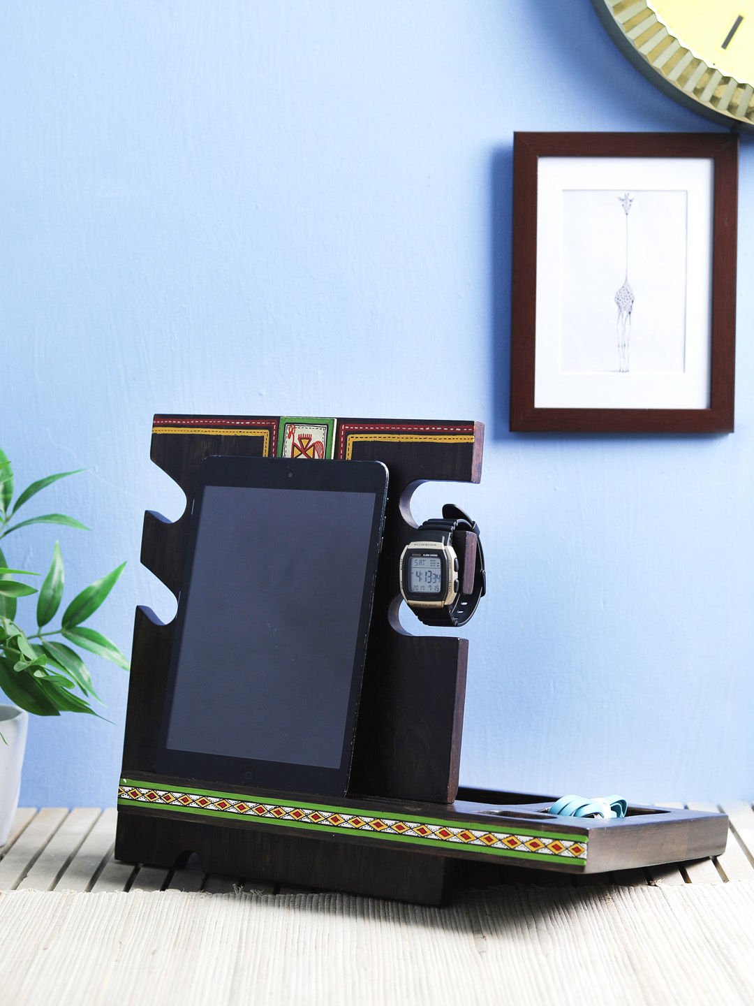 Wooden Mobile Tab Ipad Stand With Spectacle Holder Desk Organizer