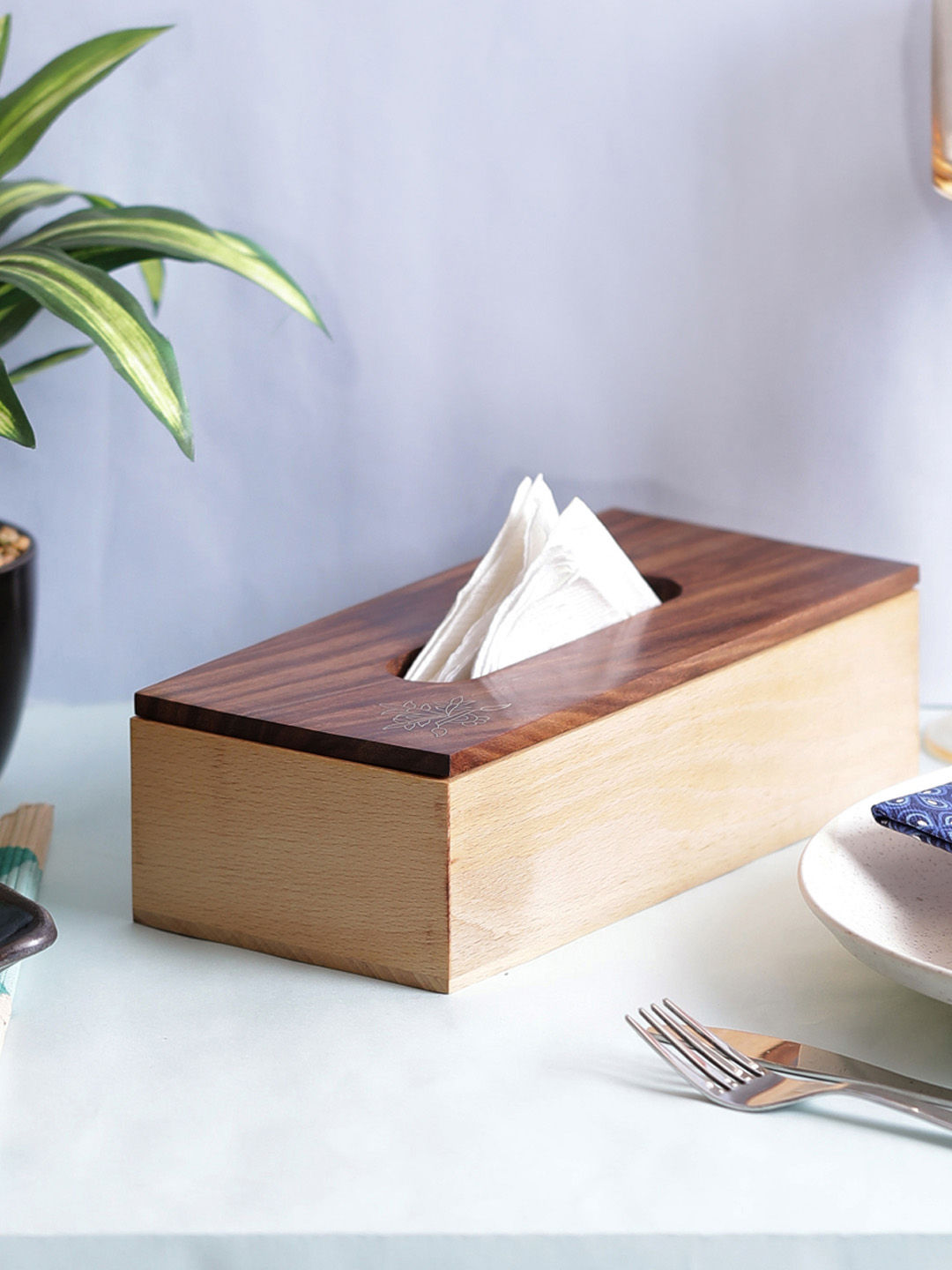Gold Enameled Wooden Tissue Box