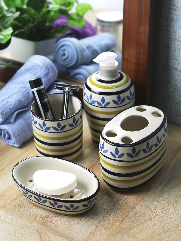 Blue Bathroom Set: Ceramic Blue Leaf 4 Piece Bathroom Accessories Set