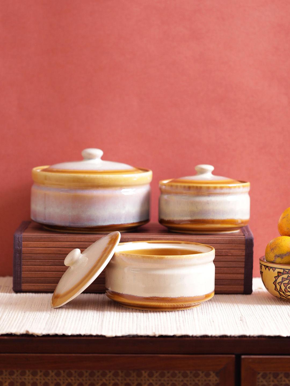 Golden Mustard Ceramic Serving Bowls Set Of Three Vnckw013