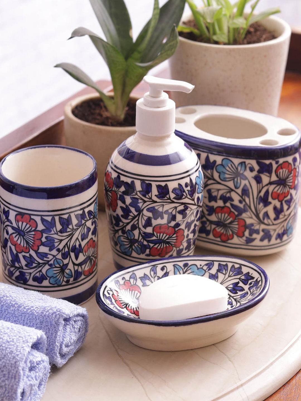 Hand Made Mughal Ceramic Bathroom Accessories Four Piece Set | Vseba001