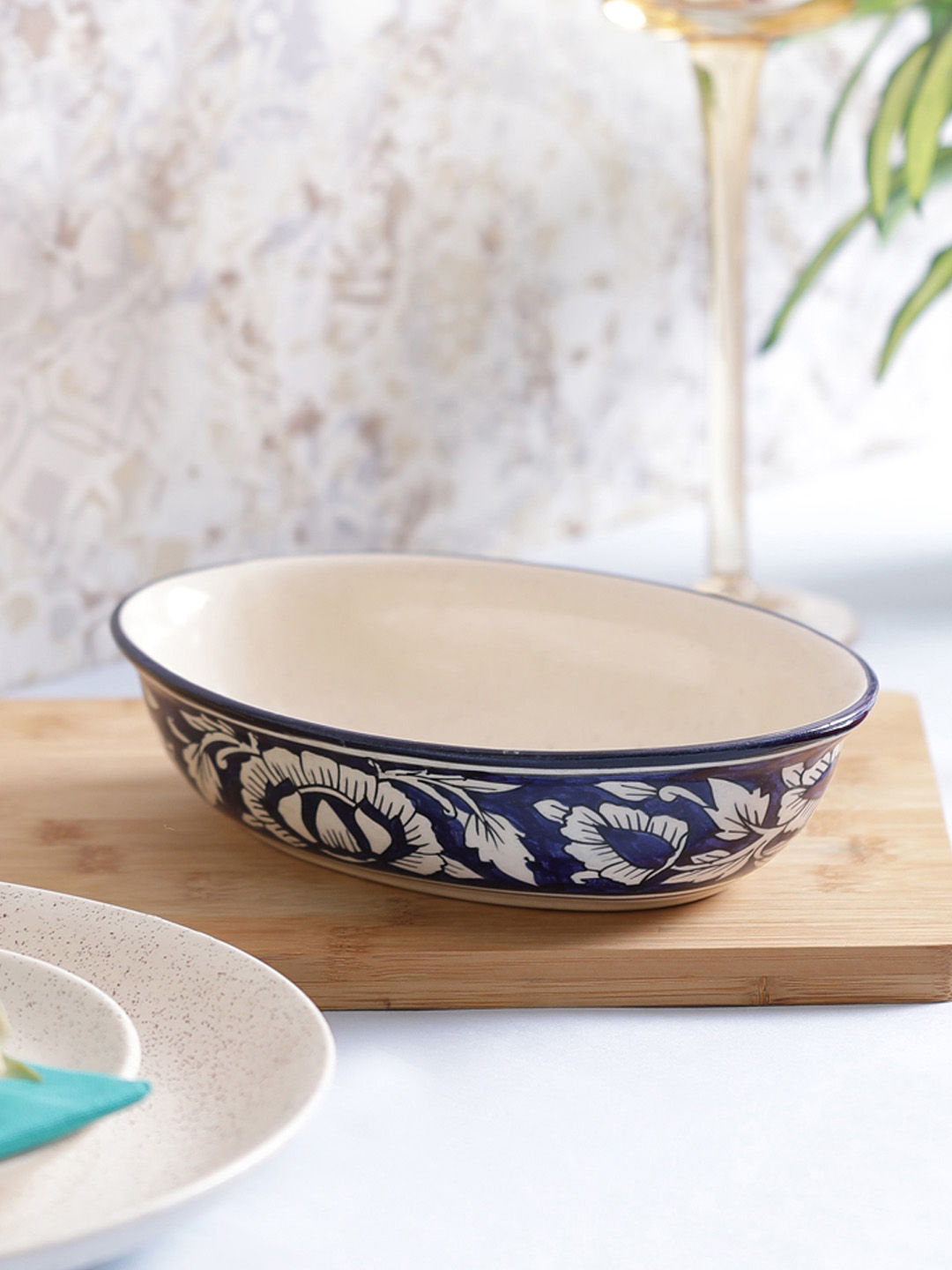 Blue Moroccan Oval Stoneware Serving Bowl Vsekw063