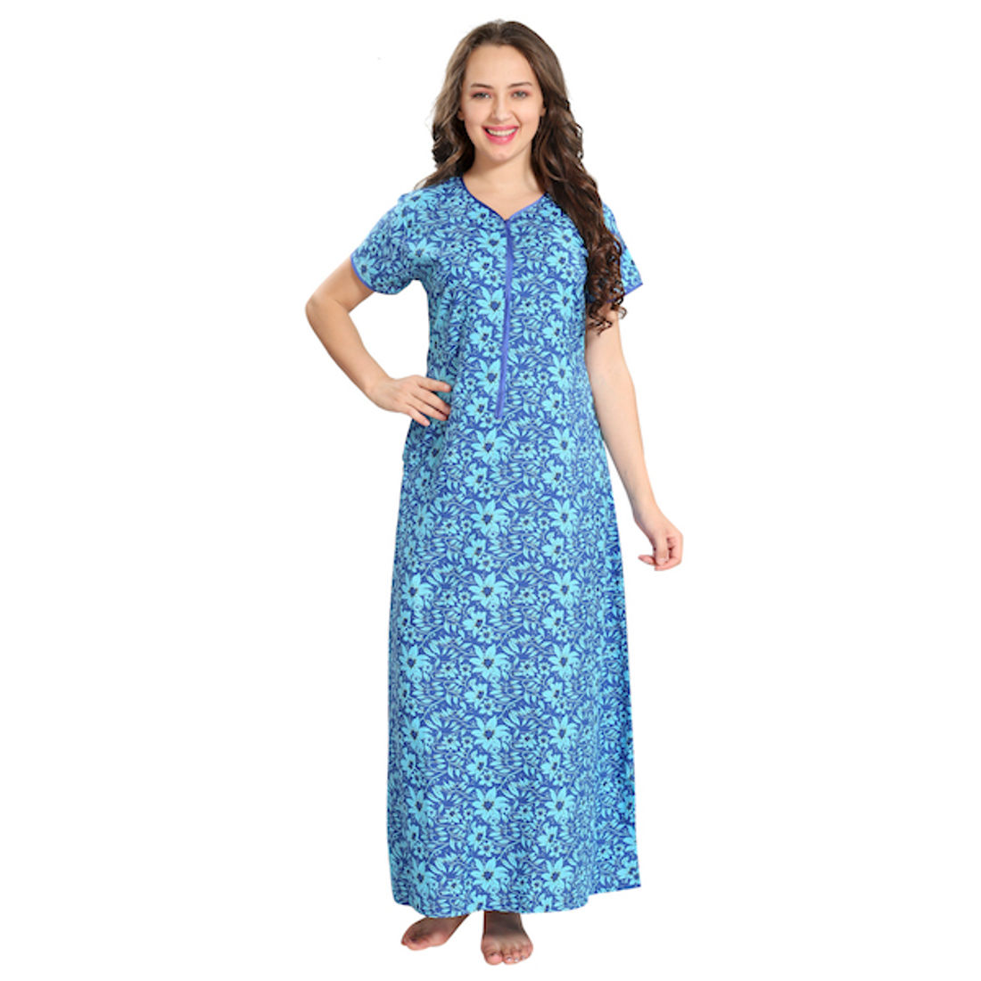 Floral Print Front Zipper Cotton Gown | Hm1050