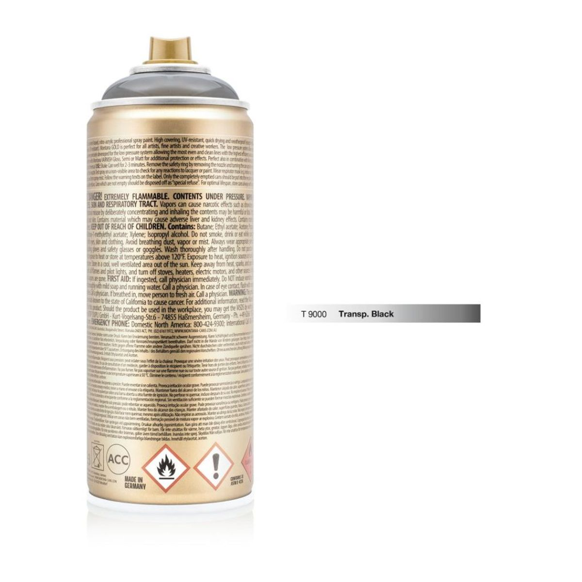 Montana Gold Spray Paint 400 Ml Transparent Black