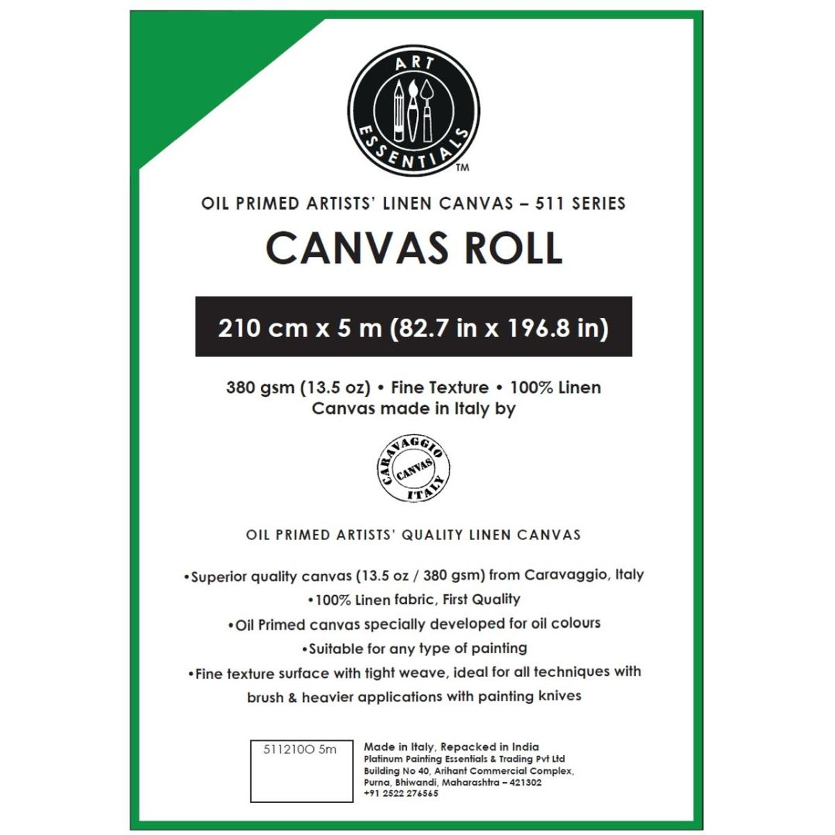 Caravaggio Oil Primed Artists' Linen Canvas Roll 511 Series 210cm x 5m
