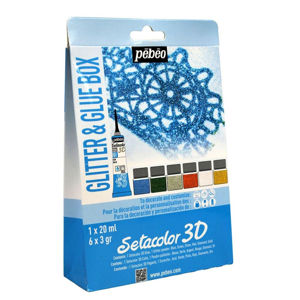 Pebeo Setacolor 3d Glitter Amp Glue Set