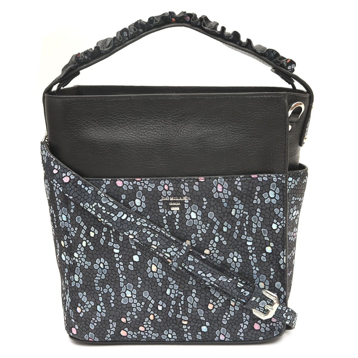 cac4bbcdd5b0 ... Da Milano Grey   Black Satchel Bag. sold-out-image zoom Da ...