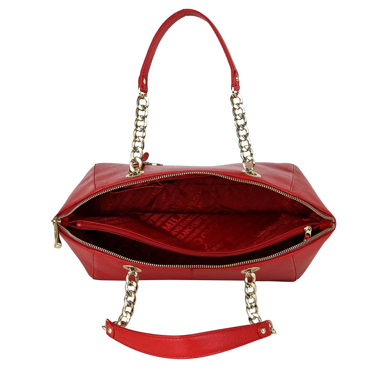 114491fb6e zoom Da Milano LB-2069 Coral Red Handbags. 1  2