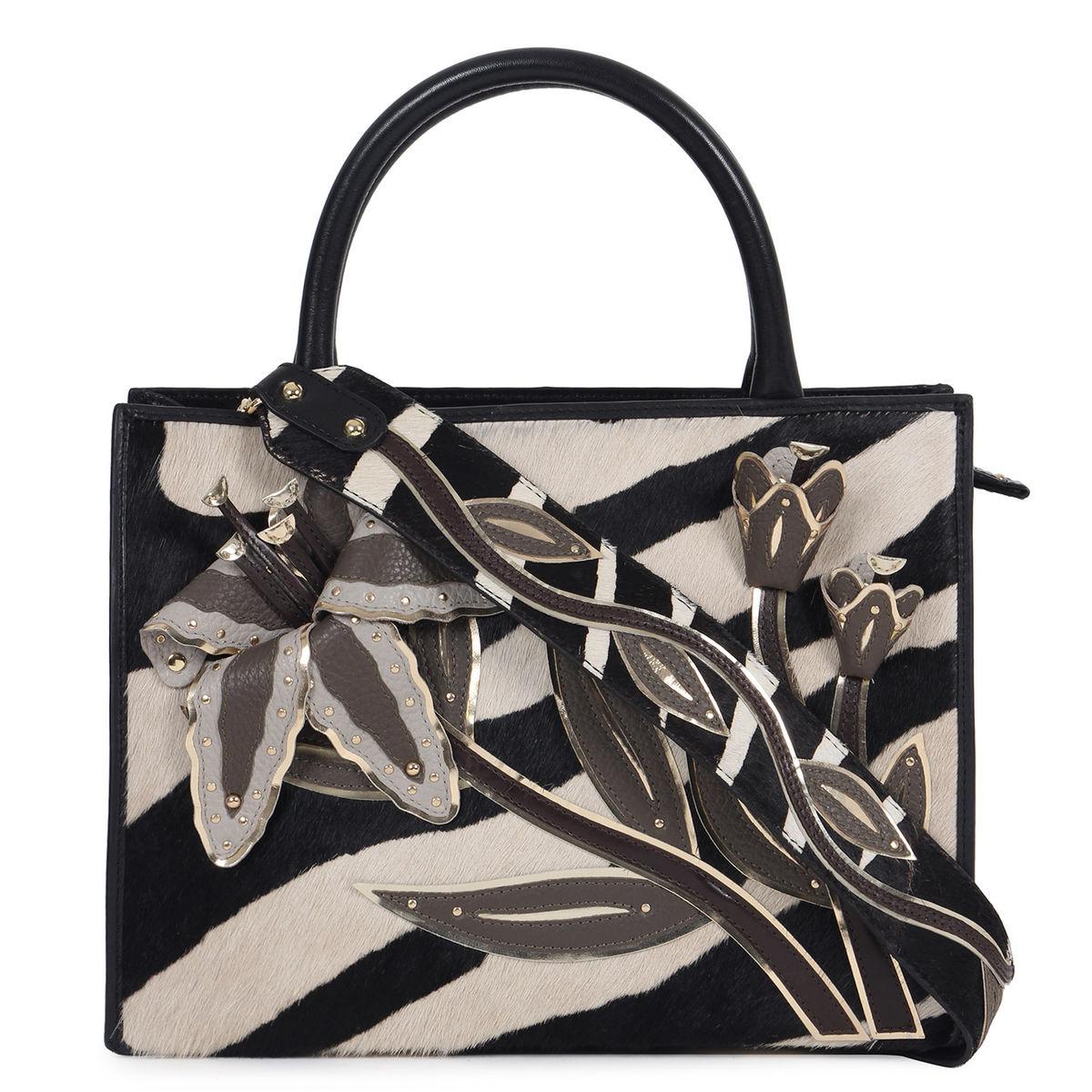 6881b89540 ... Da Milano Black White Top Handle Bag · zoom ...