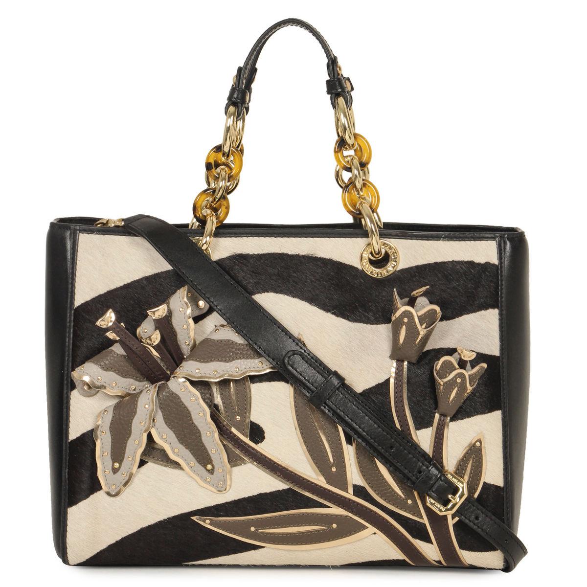 3c4448b979 Da Milano Black White Top Handle Bag