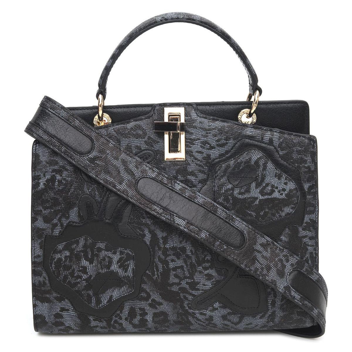 7f38437b2fdc ... Da Milano Black   Grey Satchel Bag · zoom ...
