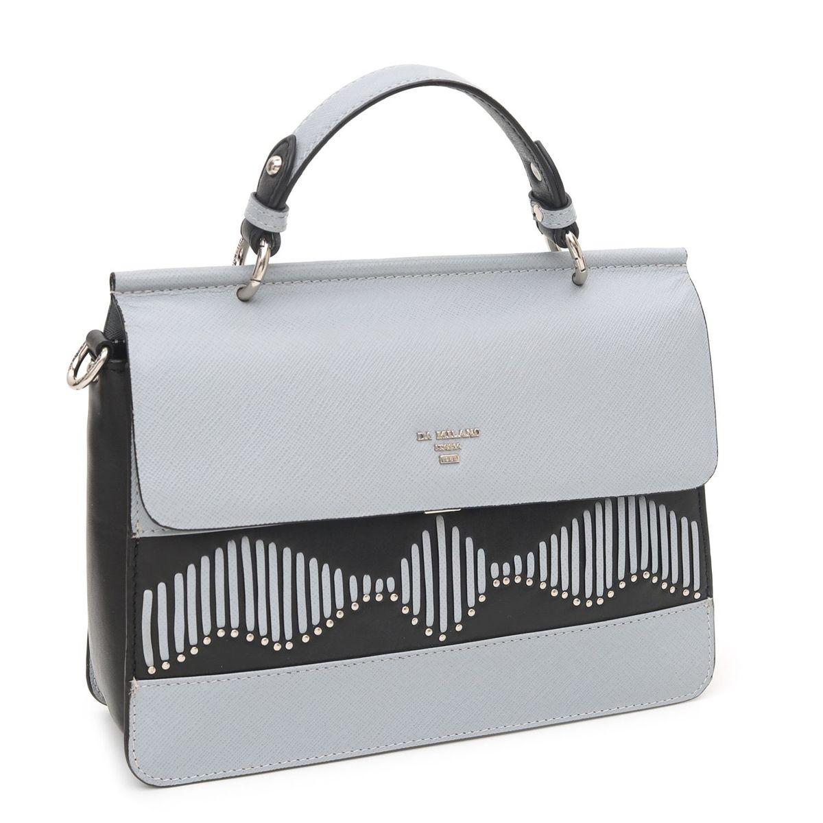 8338a60f67d9 Da Milano Grey Black Satchel Bag