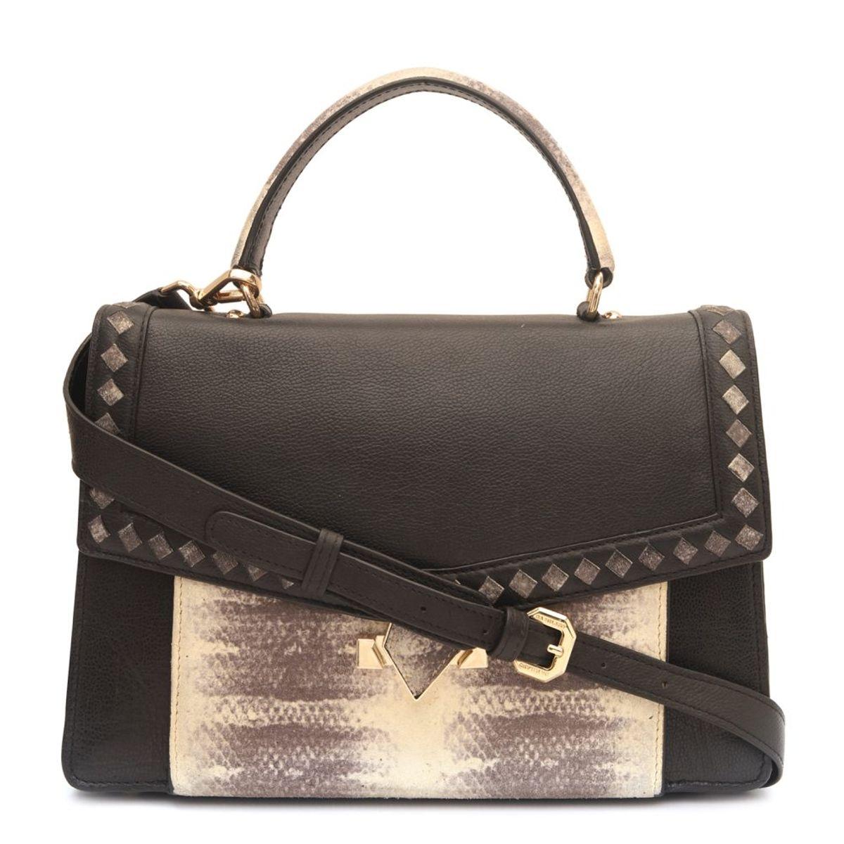 fee63924fadd ... Da Milano Black Grey Satchel Bag · zoom ...