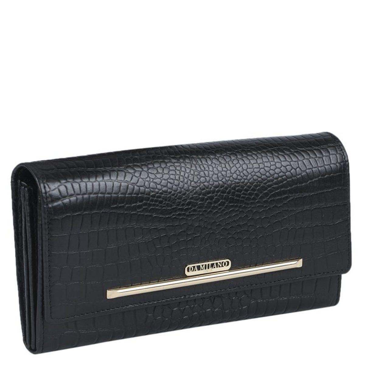 Da Milano Black Long Ladies Wallet