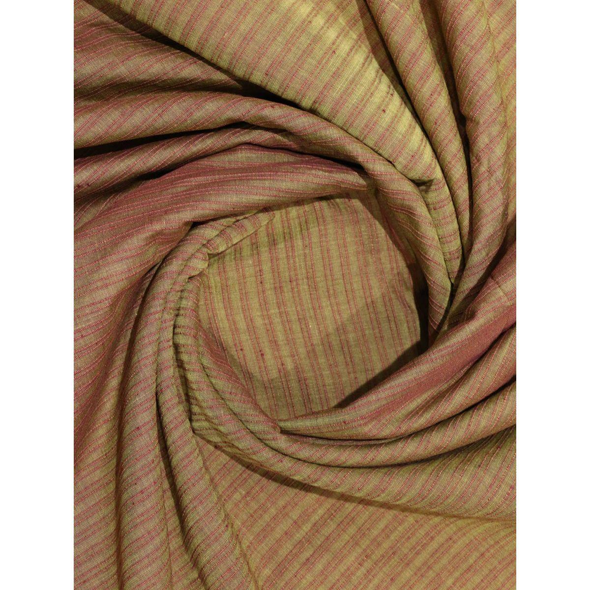 Buy Light Brown Color Mangalgiri Stripes Handloom Cotton