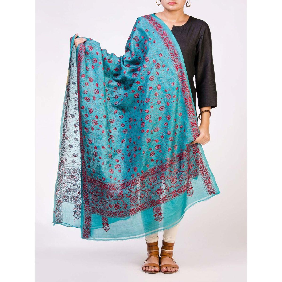 Green Tusser Silk Dupatta with Kantha Wok