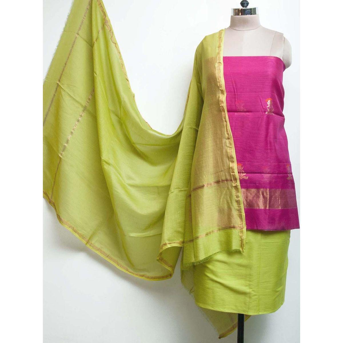 Magenta Chanderi Handwoven Zari Buti Salwar Kurta Fabric with Chanderi Zari Dupatta - set of 4