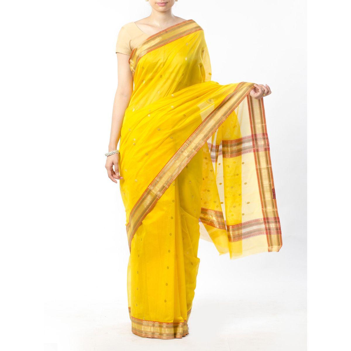 Yellow Chanderi Saree with Zari Work