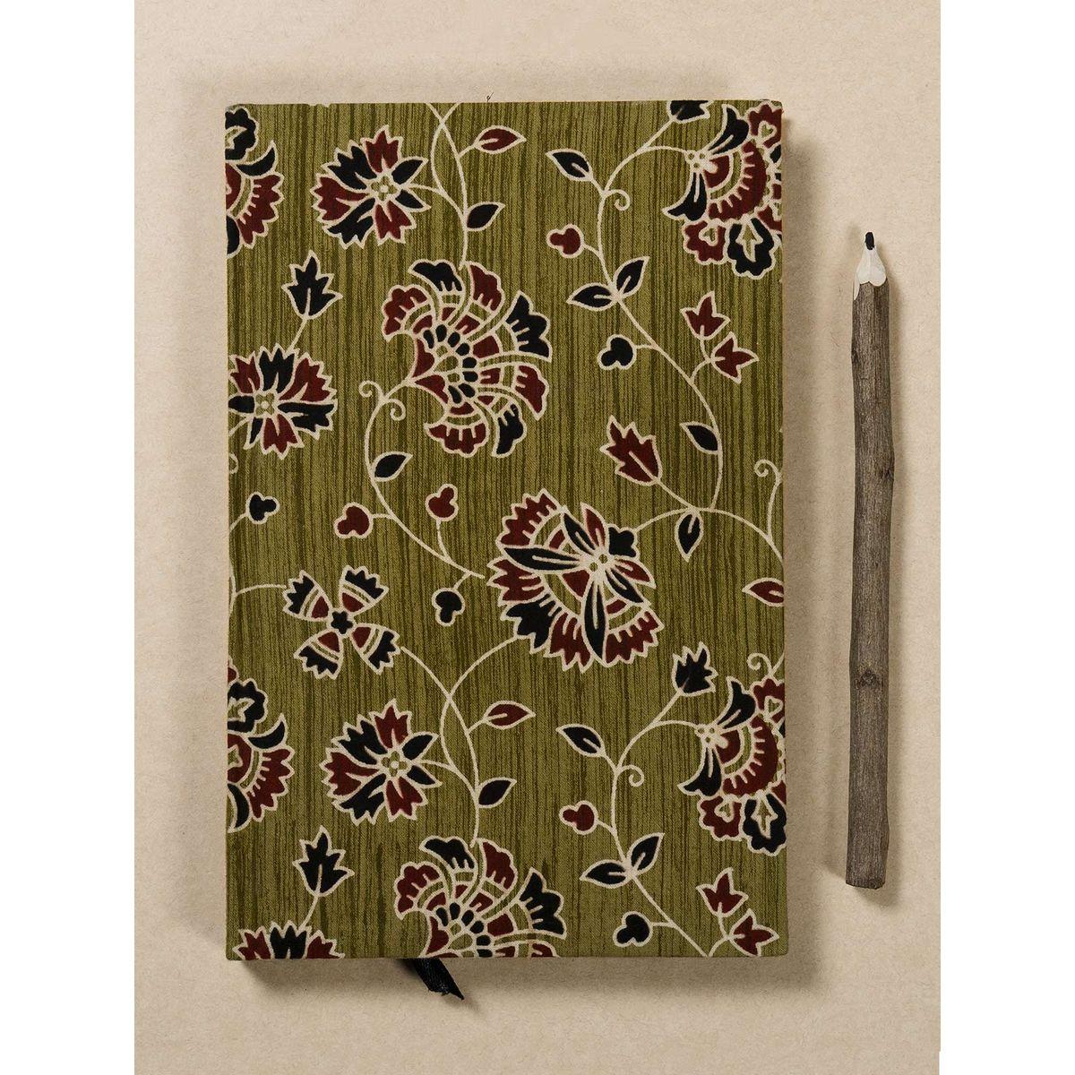 Sage Green Block Print Fabric Note Book