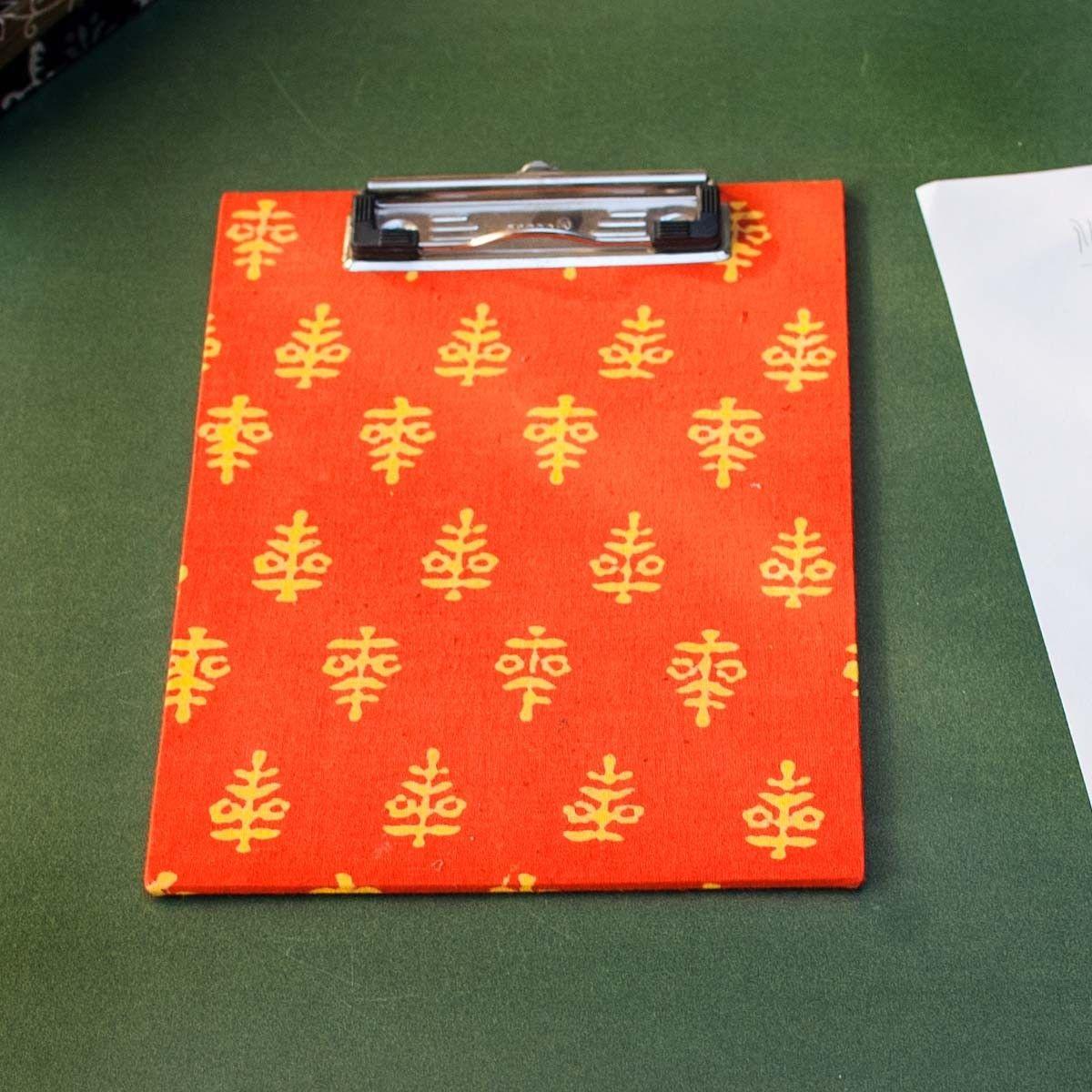 Orange Printed Fabric Cover Dafti Small - 9 x 6.5 Inch