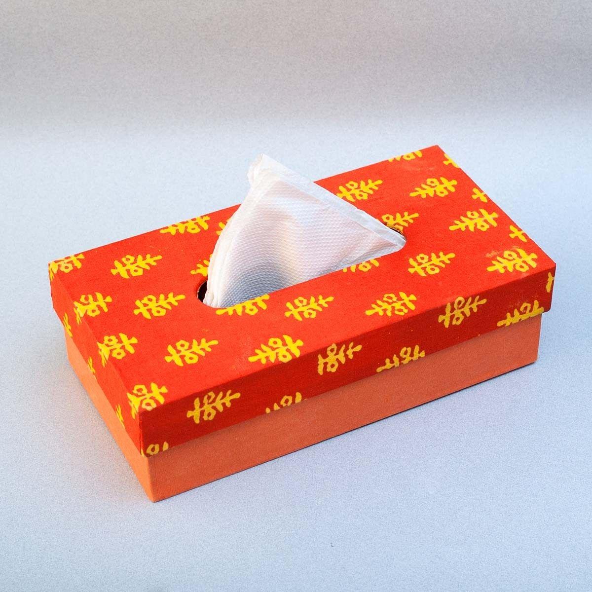 Orange Printed Fabric Cover Tissue Box - 9.5 x 2.5 x 5 Inch