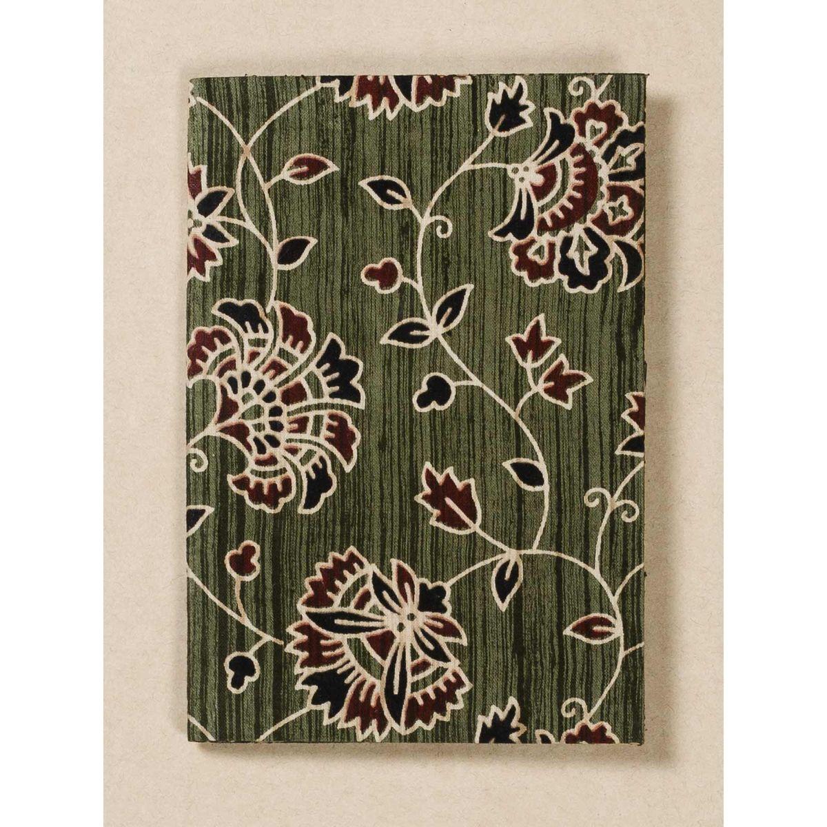 Olive Green Block Print Fabric Passport Holder