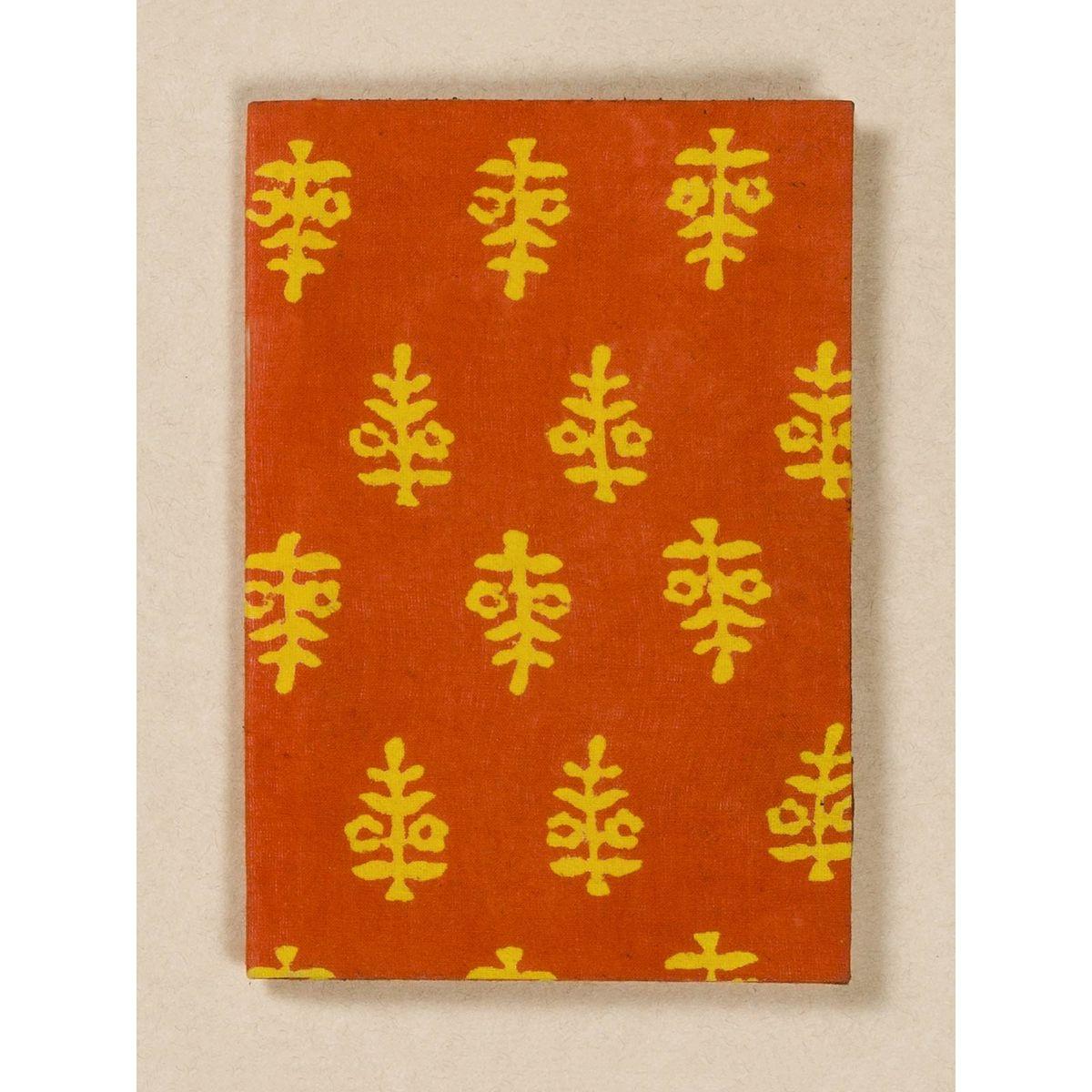 Orange Block Print Fabric Passport Holder