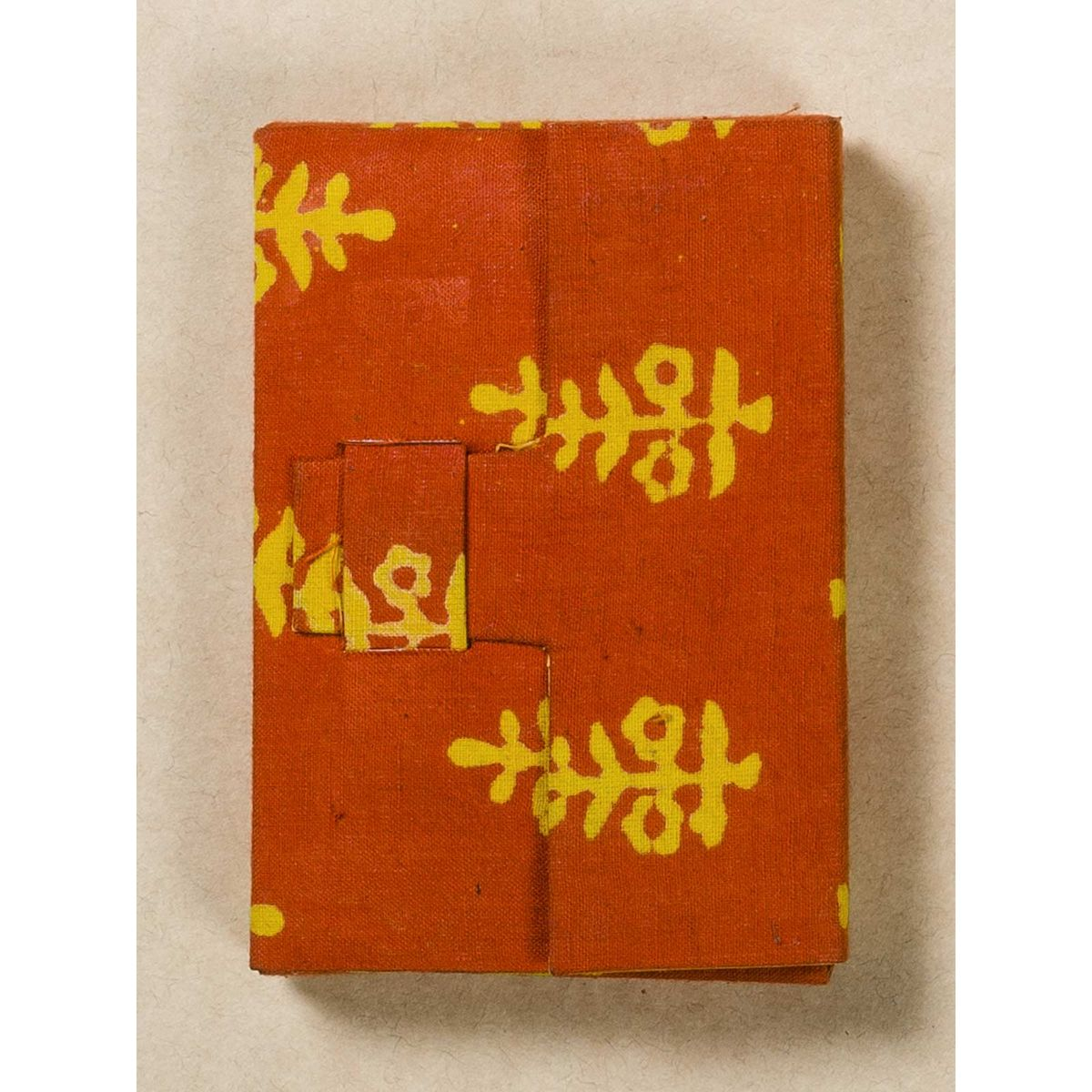 Orange Block Print Fabric Card Holder