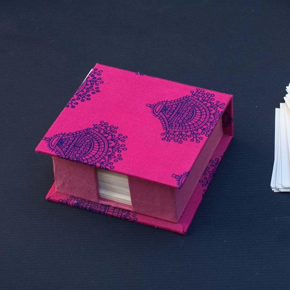 Pink Printed Fabric Cover Memo Box - 4 x 1.5 Inch