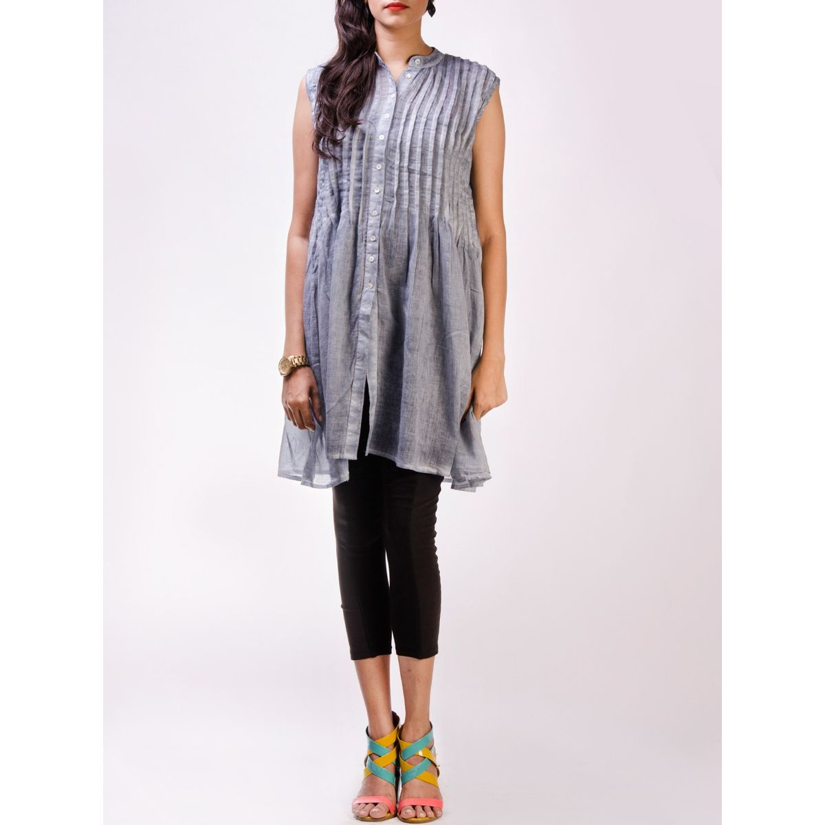 Grey Ombre Dyed Cotton Top