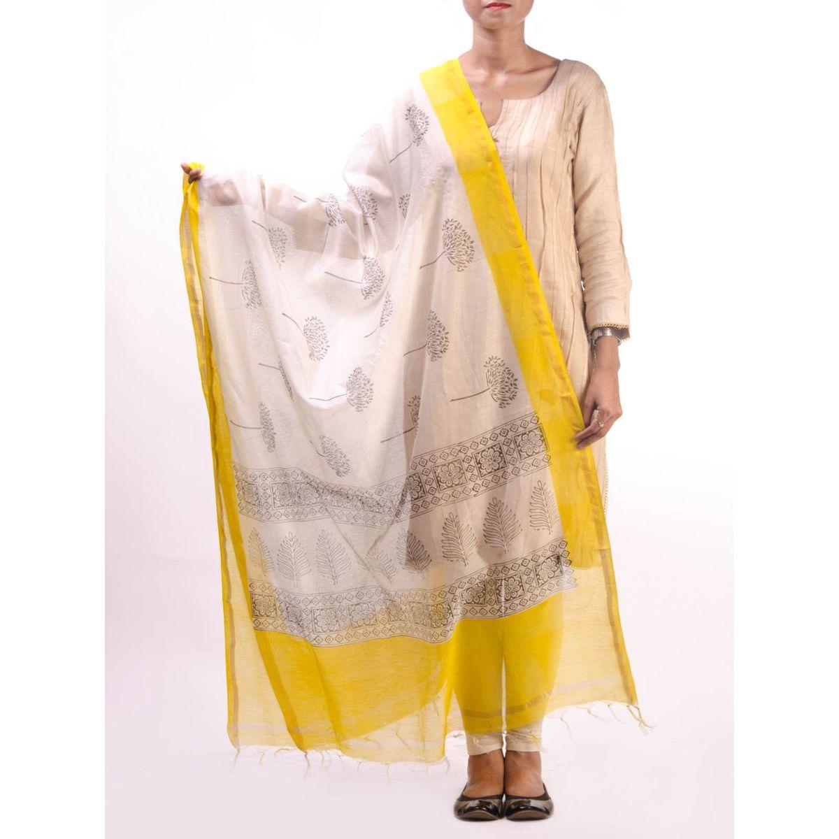 Yellow Chanderi Duptta