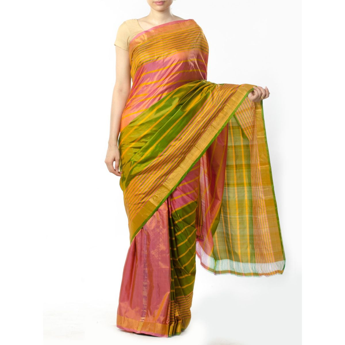 Pink Green Striped Silk Saree