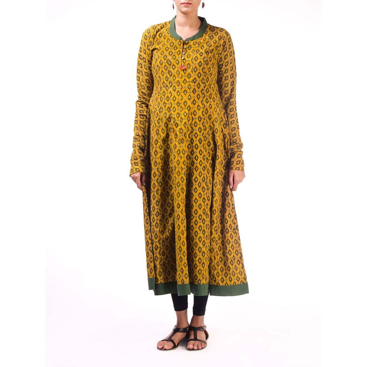 Yellow Ajrak Anarkali Kurta with Churidar Sleeves
